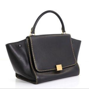 Celine Trapeze Handbag Blk Leather Satchel